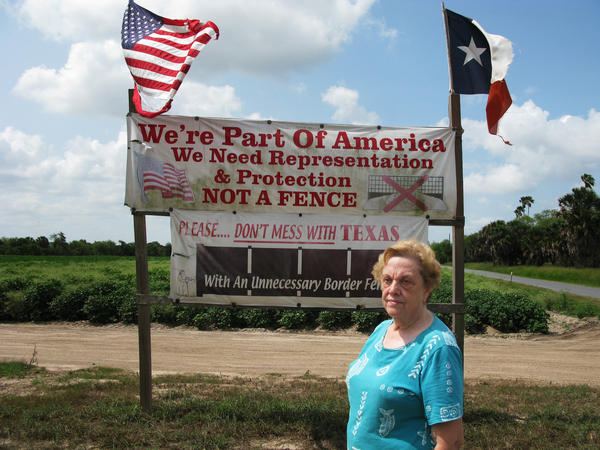"Pamela Taylor, who lives near Brownsville, Texas, calls the border fence there ""useless."""
