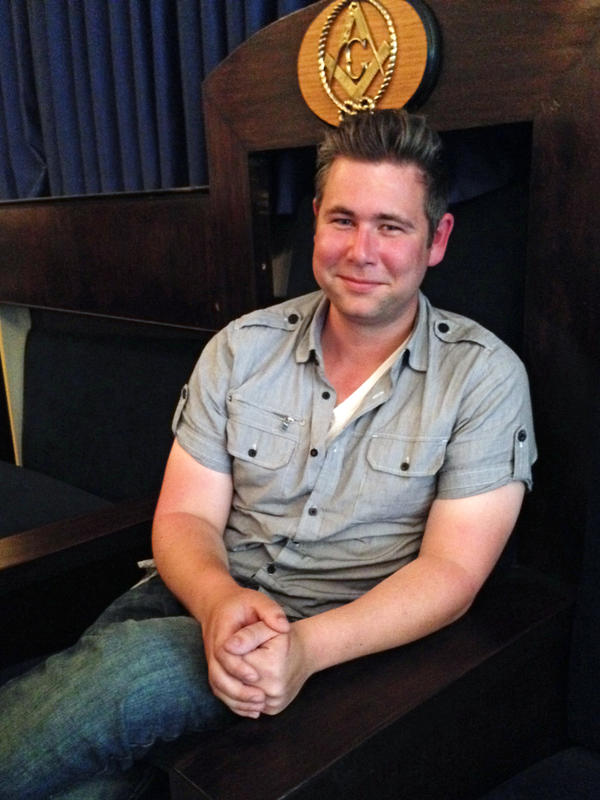 "Danny Done, 26, worshipful master of the Queen Anne Masonic Lodge in Seattle. The fraternity is ""a really interesting social network that's not online,"" he says."