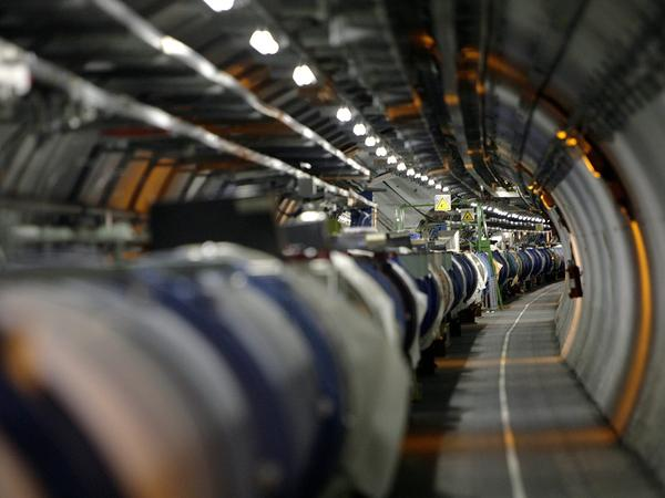 A view of the Large Hadron Collider in its tunnel at CERN in Switzerland.