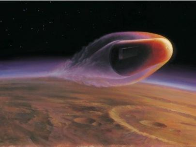 An artist's view of BoldlyGo's SCIM mission in which a probe would skim the Martian atmosphere capturing dust particles and returning them to Earth.