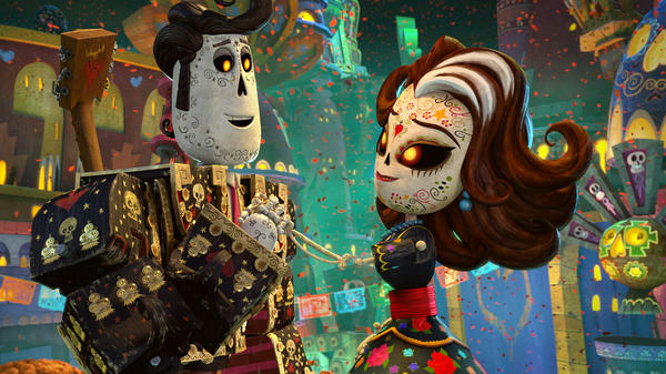 Manolo (voiced by Diego Luna, left) meets Carmen Sanchez (voiced by Ana de la Reguera) in the Land of the Remembered.