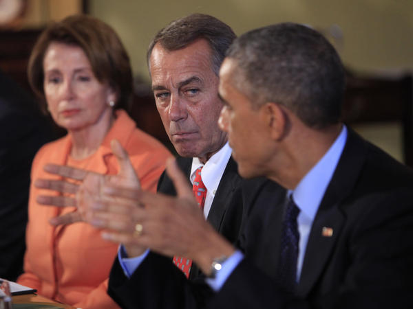 Speaker of the House John Boehner looks on as President Barack Obama meets with bipartisian congressional leaders at the White House on the results of this week's elections.