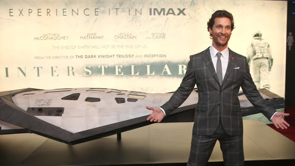 Actor Matthew McConaughey poses with a model spacecraft at the premiere of the film <em>Interstellar </em>in October.