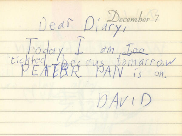 "On Dec. 7, 1960, when David Bianculli was 7 years old, he wrote in his diary how ""tickled"" he was that <em>Peter Pan</em> was going to be on TV."