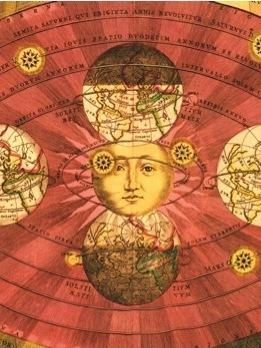 1660: These depictions of the sun in a Ptolemaic, geocentric cosmos, and in the alternative, heliocentric scheme proposed by Copernicus, are from Andreas Cellarius's sumptuous <em>Harmonia macrocosmica</em>. The sun has expanded radically in size and its facial expression has acquired a solemnity in keeping with its enhanced stature. Note Cellarius's depictions of the moon, far smaller than Earth.