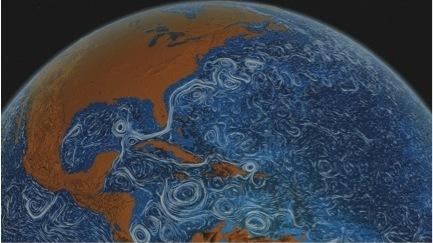 2011: In the early 21st century, attempts to visualize such complex ephemeral phenomena as ocean currents, wind direction, and speed grew increasingly sophisticated, as the volume of real-time data increased and supercomputers proved capable of processing it. This ocean surface current visualization was produced by NASA's Goddard Space Flight Center.