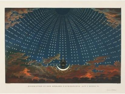1847–49: The idea of the stars forming a dome above our heads has rarely been more effectively literalized than in this set — by Prussian Karl Friedrich Schinkel — for Act 1, Scene 6 of Mozart's <em>The Magic</em> <em>Flute.</em>