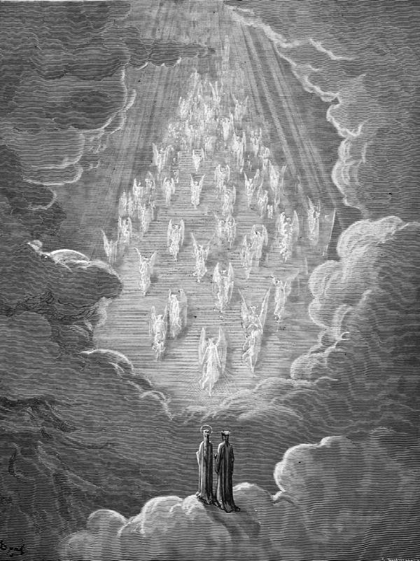 An 1870 engraving by Gustave Dore depicts the vision of the golden ladder, a scene from Dante's <em>Paradiso</em>.