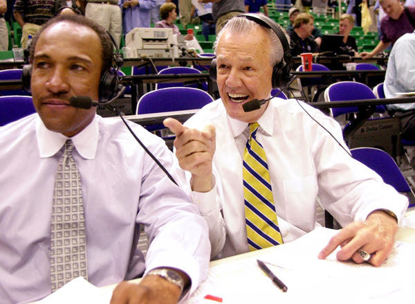 """""""Hot Rod"""" Hundley (right) does postgame commentary with Ron Boone after the Utah Jazz-Seattle SuperSonics game on May 5, 2000, in Salt Lake City."""