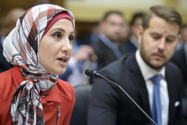 Sarah Hekmati's brother, Amir Hekmati, was born in the U.S. and went to Iran for the first time in 2011 to visit their grandmother. He has been held in Iran since then, charged with espionage. Here, Sarah Hekmati speaks at Tuesday's House committee hearing as Daniel Levinson, son of an American who went missing in Iran, listens.