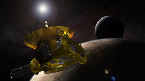 NASA's New Horizons mission will be the first ever to visit Pluto and its moons. This artist's conception shows the probe as it passes the dwarf planet.
