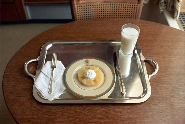 On the day that he announced his resignation, Richard Nixon ate this meal of cottage cheese and pineapple slices.