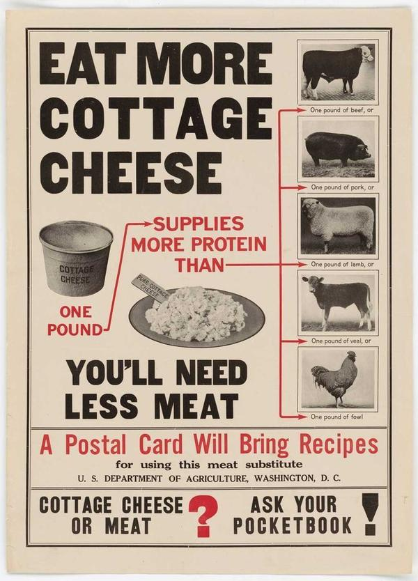 A USDA poster promoting cottage cheese.