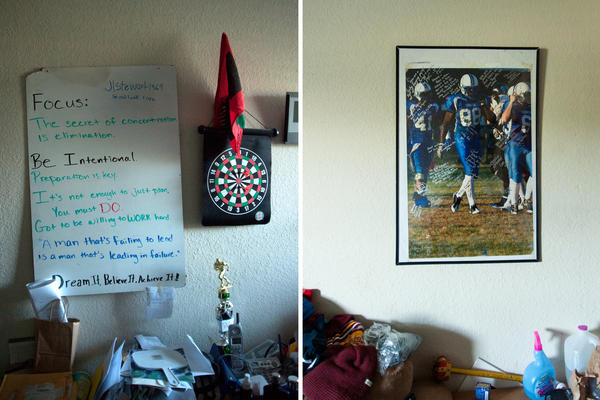 At left, a poster on the wall in Nnaka's room with inspirational messages. At right, a photograph taken moments before the accident that would change his life, decorated with signatures and messages from his Oklahoma Thunder teammates and friends.