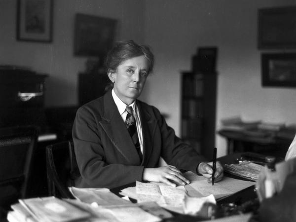 Dame Ethel Mary Smyth at her desk, photographed ca. 1925.