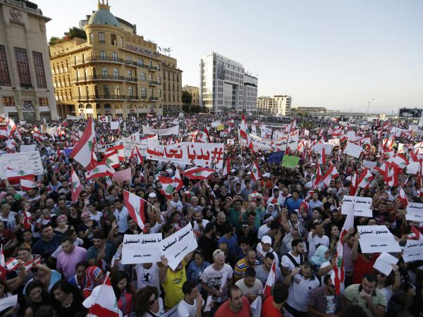 Demonstrators in downtown Beirut, Lebanon, protest the ongoing trash crisis and government corruption Saturday.