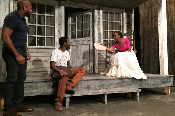 Shane Taylor (from left), W. Tré Davis and Michelle Wilson rehearse a scene in <em>The People Before the Park</em>. Their characters discuss pressuring the New York City government to pay them more money for moving from their homes in Seneca Village.