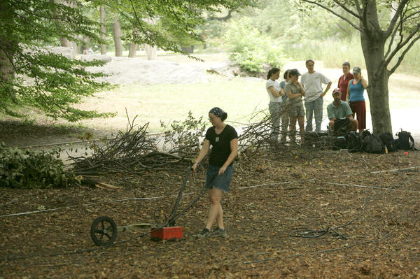 Archaeologists use ground-penetrating radar to survey the former site of Seneca Village in Central Park in 2005. The site was later excavated for artifacts in 2011.