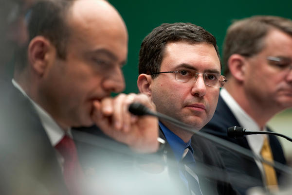 Joshua Sharfstein (center), secretary of the State of Maryland Department of Health and Mental Hygiene testifies at a hearing in 2011.