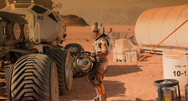 Actor Matt Damon colonizes Mars in the movie <em>The Martian.</em>