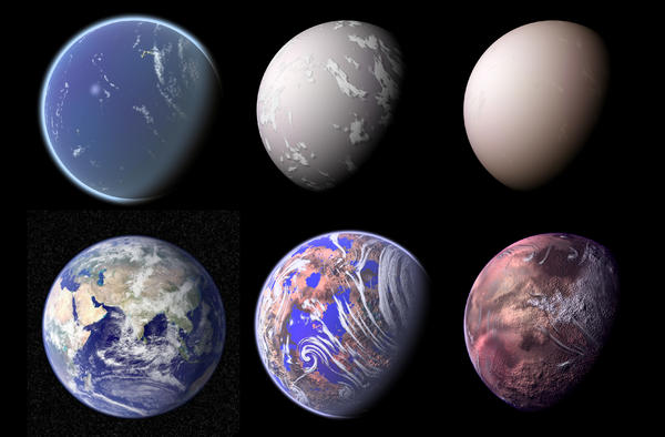 "Earth has been many different planets in its long history — and could be more. Some imaginary views are shown here. Top (from left): a water world before large-scale continents had formed; a ""snowball"" Earth phase with extreme glaciation; and a world shrouded in smoke after a large asteroid impact. Bottom: Earth today; Earth losing its oceans as the sun becomes hotter; and a final scorched Earth."