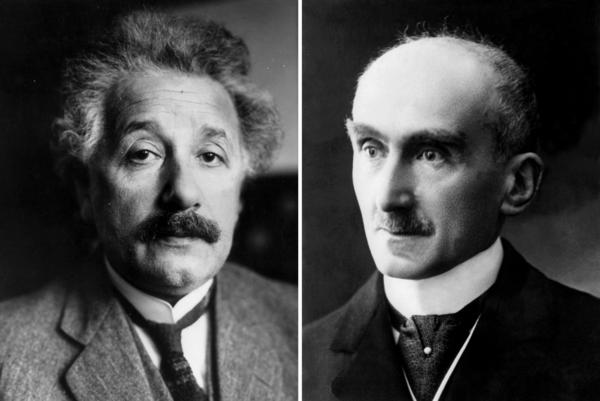 Albert Einstein (left) and French philosopher and writer Henri Bergson.