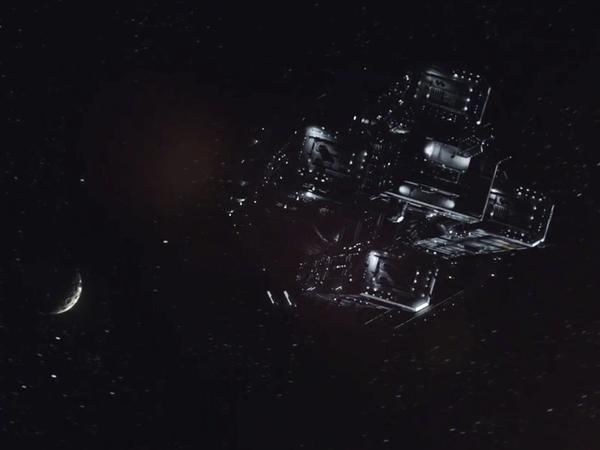 A screen grab of the transport that takes Detective Josephus Miller from dwarf planet Ceres to astroid Eros in SyFy's <em>Expanse</em>.