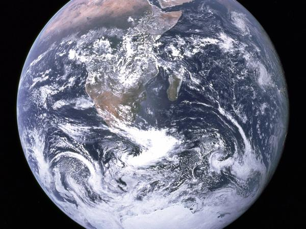 The Apollo 17 crew caught this breathtaking view of our home planet as they were traveling to the moon on Dec. 7, 1972.