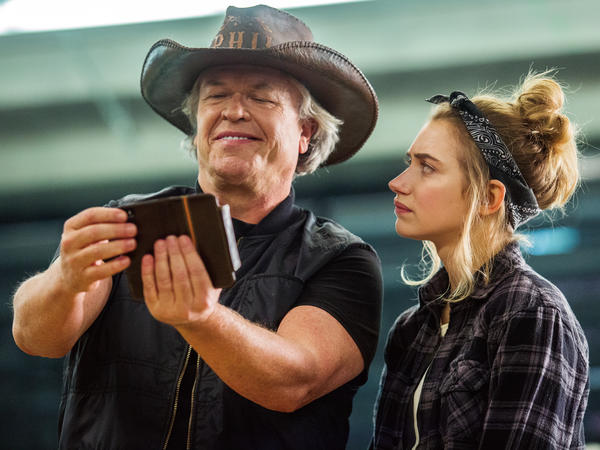 Ron White, left, and Imogen Poots star in Showtime's <em>Roadies</em>.