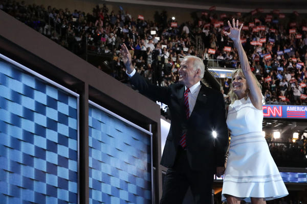 Vice President Joe Biden and his wife, Jill, wave to the crowd at the Democratic National Convention.