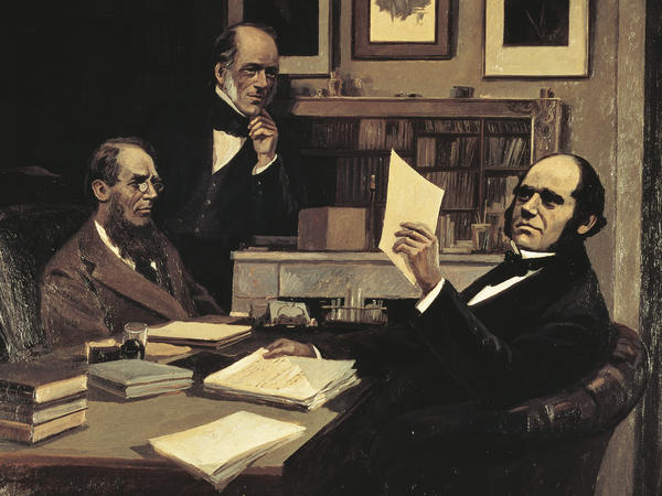 The naturalist Charles Robert Darwin, the geologist Charles Lyell and the botanist Joseph Dalton Hooker are depicted in this 19th century painting.