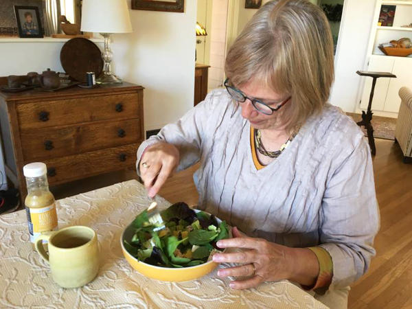 Judy Maggiore eats a salad every day for lunch as part of her efforts to prevent more fat deposits.