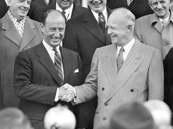 Adlai E. Stevenson and President Dwight Eisenhower shake hands at the White House in Washington, Feb. 17, 1953. A few months before, Eisenhower had defeated Stevenson in the presidential election.