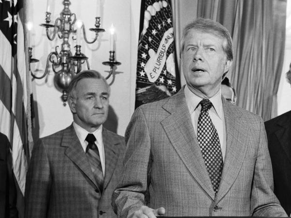 "President Jimmy Carter spells out his plan for reorganization of the U.S. intelligence community in 1978. CIA Director Stansfield Turner (left) later fired hundreds of CIA employees in what was dubbed the ""Halloween Massacre"" of 1979."