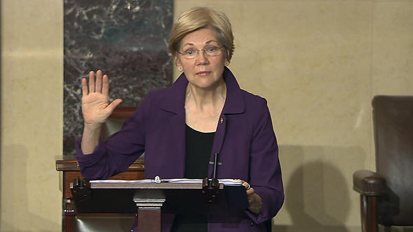In this image from Senate Television, Sen. Elizabeth Warren, D-Mass., speaks on the floor of the U.S. Senate in Washington, D.C., on Monday, Feb. 6, 2017.