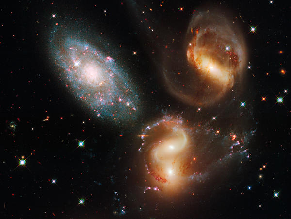 This image made by the NASA/ESA Hubble Space Telescope shows part of a group of five galaxies known as Stephan's Quintet.