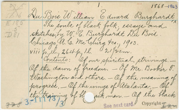 The Library of Congress card for W.E.B. Du Bois' <em>The Souls of Black Folk: Essays and Sketches.</em>