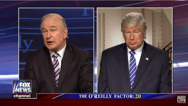 In a segment of <em>Saturday Night Live </em>on April 8, Alec Baldwin portrayed both Fox News host Bill O'Reilly and President Donald Trump.