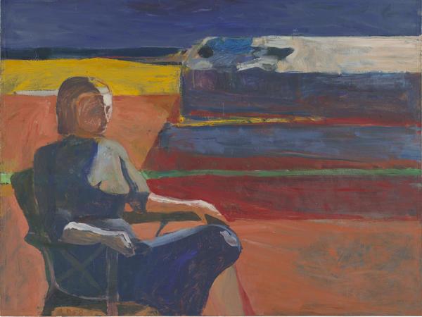 Richard Diebenkorn, <em>Woman on a Porch</em>, 1958; oil on canvas.