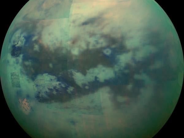 This composite image made from pictures taken on Nov. 13, 2015, shows an infrared view of Saturn's moon Titan from NASA's Cassini spacecraft