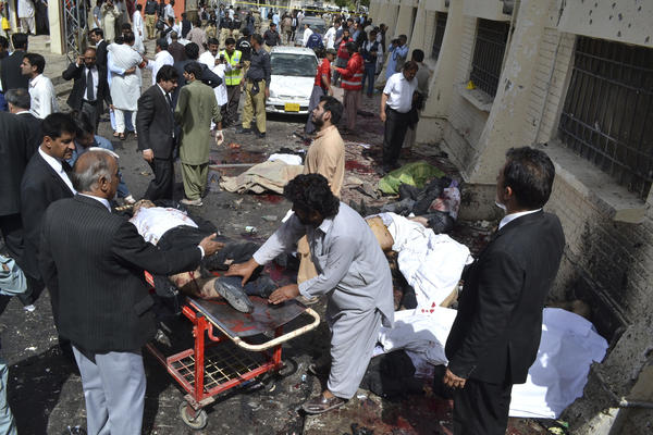 On August 8, 2016, a suicide bomber killed 74 people and wounded 112 others at a government-run hospital in Quetta, Pakistan.