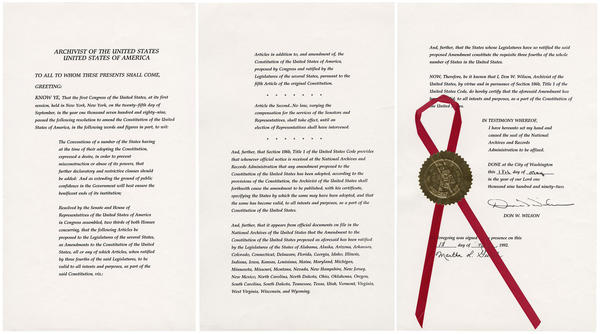 The official proclamation declaring the 27th Amendment to be part of the U.S. Constitution was issued in 1992.