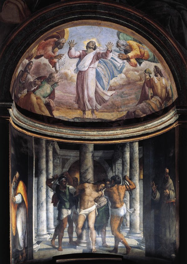 Flagellation of Jesus and the Ascension, 1517-1524, frescoes by Sebastiano del Piombo (1485-about 1547), Borgherini Chapel, Church of St. Peter in Montorio, Rome. Italy, 16th century.