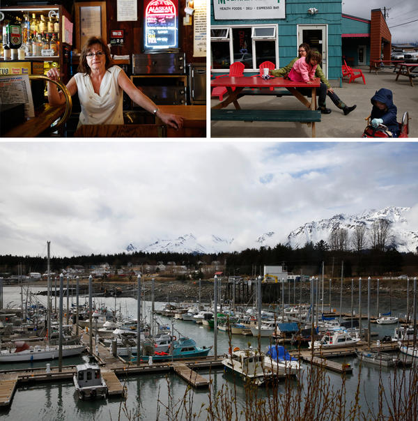 Top left: Carole Ridge, a bartender at the Fogcutter bar. Top right: Candice Mustard-Scott, with her daughter, Ella, and a friend. Bottom: The harbor in Haines.