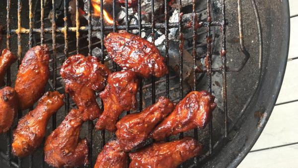 Mike and Amy Mills' famous smoked chicken wings, as prepared in Ari Shapiro's backyard.