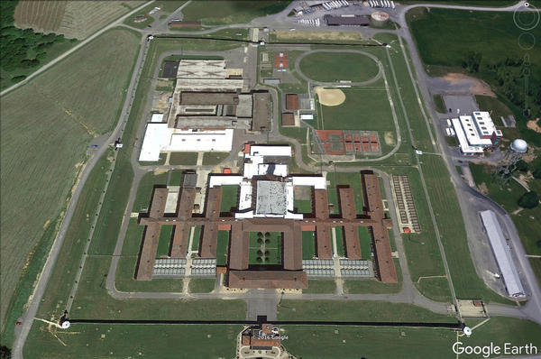 An aerial view of the Lewisburg prison complex in Pennsylvania.
