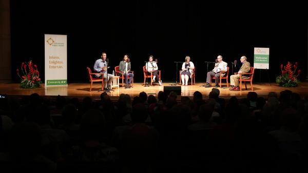 Ryan Warner, Adrian Florido, Kelley Griffin, Elizabeth Jensen, Mark Memmott and Bob Steele talk media ethics at an event hosted by Colorado Public Radio.