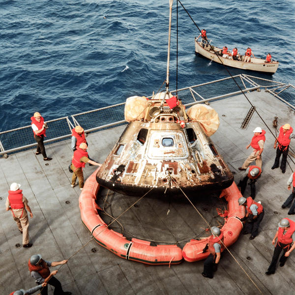 The Apollo 11 Command Module Columbia, with astronauts Neil Armstrong, Michael Collins and Buzz Aldrin aboard, splashed down southwest of Hawaii on July 24, 1969, and was brought aboard the USS Hornet.