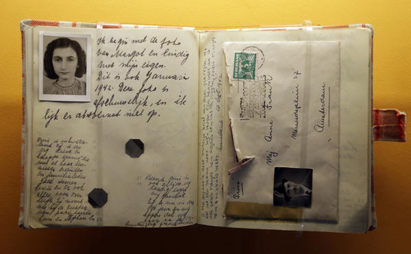 A replica of Anne Frank's diary is displayed at the Indianapolis Children's Museum in Indianapolis.