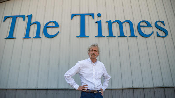 Storm Lake Times Editor Art Cullen stands outside his newspaper he started with his brother in 1990. The newspaper won a Pulitzer Prize this year for its editorial writing